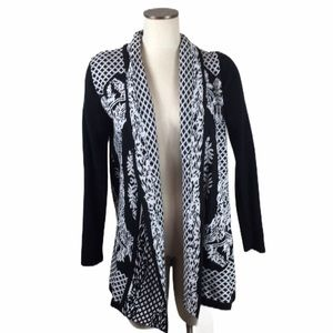 New Directions Open Front Black White Cardigan